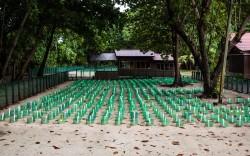 The 'boys' area under shady trees